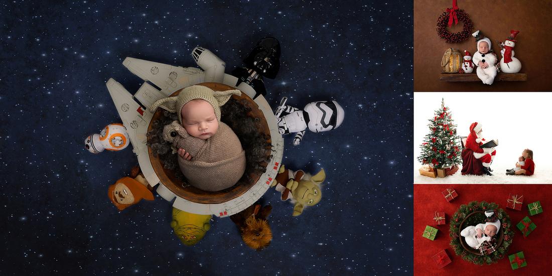 Baby Yoda, Snowman, Newborn Portraits, Composite